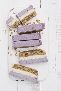 These raw blueberry and cashew coconut bars are a festive, frozen treat full of essential fatty acids