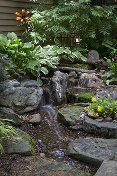 Aquascape Pondless Waterfall in Courtyard. This effect can be done with downspouts if pond liner is utilized to direct the water away from house beneath the rocks. Backyard Water Feature, Ponds Backyard, Backyard Sheds, Backyard Waterfalls, Yard Water Fountains, Garden Fountains, Landscape Design, Garden Design, Beach Gardens