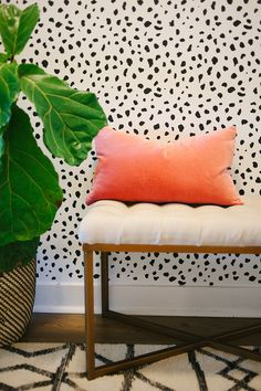 A bench with brass legs and tufted seat, peach pillows, black and white wallpaper, and indoor plant