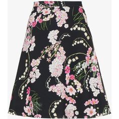 Giambattista Valli lily of the valley printed skirt ($1,085) ❤ liked on Polyvore featuring skirts, floral skirt, flower print skirt, high-waist skirt, floral a line skirt and knee length a line skirt