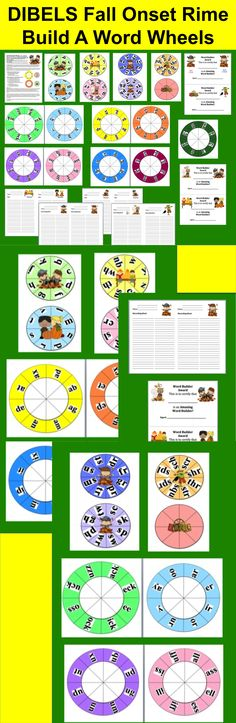 $3.00 Fall Literacy Centers DIBELS Onset Rime (Real or Nonsense) Build A Word Wheels – Set 1 – Different Ways To Use and Record – 63 Different Combinations of Wheels, so you can make 63 Word Builder Wheels with this set!  - Includes 4 Word Builder Awards and 8 Recording Sheets –