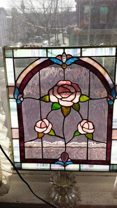 Three roses stained glass by Anita Troisi
