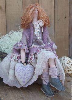 Купить Тильда Бетти шебби-шик - сиреневый, лиловый, тильда, tilda, интерьерная кукла