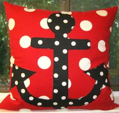 Anchors away Oxygen Dots Lipstick/White pillow cover by Alethias, $48.00
