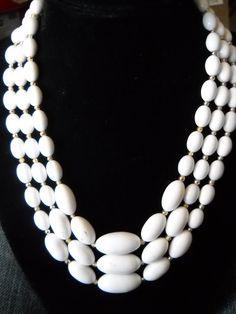 Vintage Necklace White milk Glass Beads 3 strand $35.00