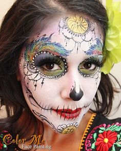 Sugar Skull Face Painting - Color Me Face Painting - Vanessa Mendoza Face Painting Colours, Face Painting For Boys, Face Painting Designs, Painting Patterns, Body Painting, Sugar Scull, Sugar Skull Face, Sugar Skull Girl, Sugar Skull Makeup