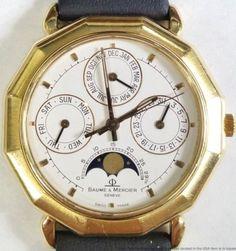 Baume Mercier Riviera Moonphase Triple Date 18K Gold Wrist Watch w/ Box Paper