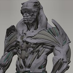 #cgscreenshotwednesday. Poly-modeled Subd parts were integrated into a Zbrush model to get a contrast between cleaner tech surfaces and more organic freehand-sculpted body. #darktech #machineflesh #ultraborg #zbrush #xsi #robodemon