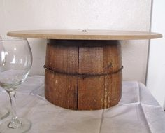 Vintage Barrel WEDDING CAKE STAND Upcycled Pedestal Exclusive Dessert Wine Cowboy Wood Country