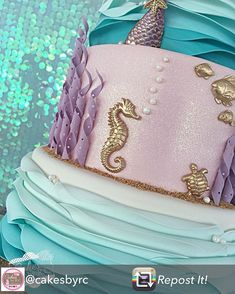 Repost from using - Ava's Mermaid inspired cake! Little Mermaid Birthday, Little Mermaid Parties, Girl Birthday, Birthday Parties, Birthday Ideas, Ocean Cakes, Beach Cakes, Mermaid Baby Showers, Mermaid Cakes
