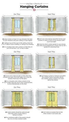 The Dos & Don'ts of Hanging Curtains: An Illustrated Guide Nothing makes a room feel well-dressed quite like carefully chosen, expertly hung curtains. When done right, your ceilings can look taller and your room will appear complete. Interior Design Tips, Home Design, Design Ideas, Small Apartment Interior Design, Interior Design Curtains, Cv Design, Design Model, Graphic Design, Apartment Living