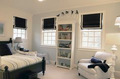 sophisticated boys room- window treatment