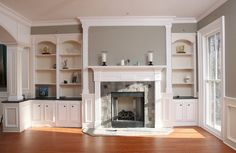 fireplaces with bookshelves on each side | Fireplace mantle with bookcases on sides | Yelp