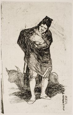 "Francisco de Goya: ""Contrabandista andaluz"". Serie ""Últimos caprichos"" [5]. Etching, aquatint, drypoint, scraper and burnisher, 191 x 122 mm, 1826-28. Museo Nacional del Prado, Madrid, Spain"