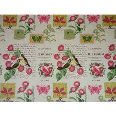 Butterflies & Birds Cotton Pink Green Gold Curtain & Upholstery Fabric - The Millshop Online