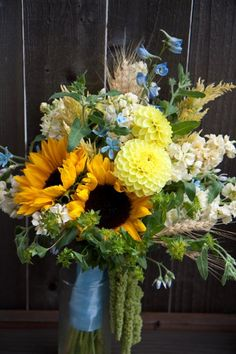 Rustic Shabby Chic Blue Yellow Bouquet Fall Wedding Flowers Photos & Pictures - WeddingWire.com