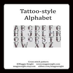 Tattoostyle Alphabet letters PDF cross stitch door magpienight, $2.95