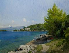 A view of the sea at Vrnik, Croatia | From a unique collection of landscape paintings at https://www.1stdibs.com/art/paintings/landscape-paintings/