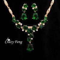 Wish | Women's New Yellow Gold Plated CZ Stone Rhinestone Necklace+Earrings Flower Wedding Jewelry Sets