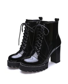 Black Patent leather Ankle Boots| Big Sale | Discount | save 50%