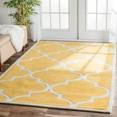 Quality meets value in this beautiful modern area rug. Handmade with polyester to prevent shedding, this plush area rug will enhance any home décor.The nuLoom Handmade Luna Moroccan Trellis rug is the ideal addition to any room. Trellis Rug, Trellis Pattern, Mustard Rug, Plush Area Rugs, Yellow Rug, Modern Area Rugs, Online Home Decor Stores, Online Shopping, Home Decor Outlet