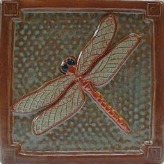 Your place to buy and sell all things handmade - WHAT IT IS- Dragonfly tile, Accent tile/ handmade ceramic relief tile. WHAT FOR- This tile is to in - Summer Arts And Crafts, Arts And Crafts For Adults, Easy Arts And Crafts, Arts And Crafts Projects, Decor Crafts, Home Decor, Fixer Upper, Craftsman Tile, Art Nouveau