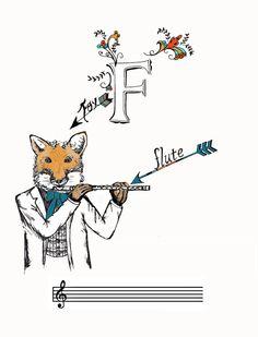 Fox Playing Flute PDF by SeaJayShop on Etsy