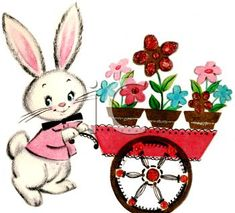 Vintage Easter Bunny Pushing a Flower Cart - Royalty Free Clip Art Picture Easter Art, Easter Bunny, Happy Easter, Vintage Easter, Vintage Holiday, Hunny Bunny, Clip Art Pictures, Flower Cart, Royalty Free Clipart