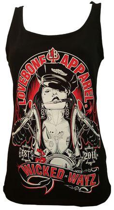 Wicked Wayz ladies tank top. #handdrawn  #loveboneoriginal Rock N Roll, Pop Culture, Pin Up, How To Draw Hands, The Originals, Tank Tops, Lady, Wicked, Fashion