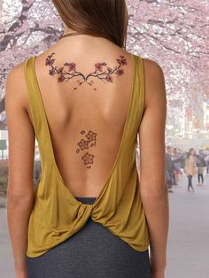 2 Cherry Blossom Tattoos  Temporary Tattoo  by AwesomeAdjustments