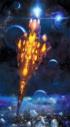 Craftworld EldarCraftworld A Craftworld is a vast, planetoid-sized spacecraft po. - Main - Crafts world Warhammer Fantasy, Warhammer Eldar, Cyberpunk, Battlefleet Gothic, Bg Design, Sci Fi Ships, Science Fiction Art, To Infinity And Beyond, Fantasy Landscape
