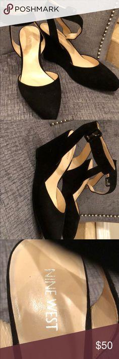 Nine West Wedge Heels NWT Size 8. Black suede wedge heels. Nine West Shoes Wedges