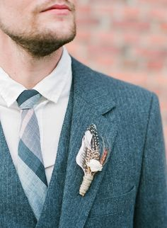 boutonniere (The Sunflower Stand) - A Vintage Inspired Love Shoot by Vintage Wedding Love by Greenbrook & Co. (Event Styling, Design, Floral Arrangements and all Paper Goods) + Nina & Wes Photography - via ruffled