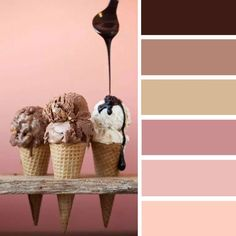 100 Color Inspiration Schemes : Mocha + Peach + Chocolate Color Palette #color #palette #colors