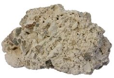 Tufa -Tufa is actually just a type of soft and porous chemically precipitated limestone, usually associated with springs. Width of the sample from Estonia is 13 cm. Green lithic fragments are pieces of glauconitic sandstone. Uses Of Limestone, Igneous Rock, Base, Types Of Soil, Travertine, Stones And Crystals, Geology, Hot Springs, Regional