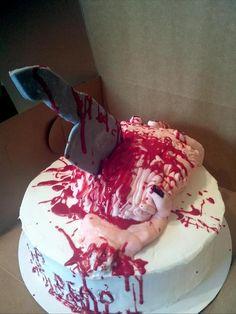 Birthday cake for a Walking Dead fan. Zombie, brain, knife, blood cake