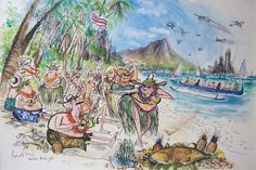 [Editor's Note: In memory of Ronald Searle's passing, we present this tribute by Matt Jones. Besides working as a story artist at Pixar, Matt is the curator of the Ronald … Continued Beach Illustration, Illustration Styles, Ronald Searle, Black Museum, Matt Jones, Drawing Lessons, Aboriginal Art, Travel And Leisure, Hawaii Travel
