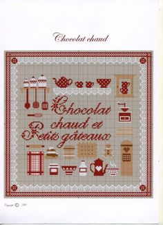 (1) Gallery.ru / Photo # 38 - Clutter - mornela Chocolate chaud Petits gateaux-Kitchen Cross Stitching, Cross Stitch Embroidery, Cross Stitch Patterns, Cross Stitch Kitchen, Le Point, Needlework, Free Pattern, Miniature, Holiday Decor
