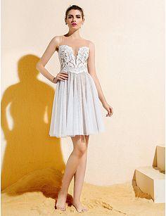 A-line Bateau Knee-length Lace And Tulle Bridesmaid Dress (1846388) – USD $ 99.99