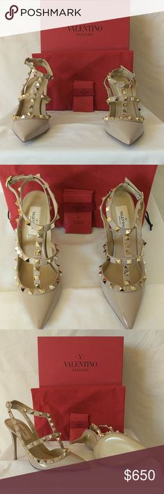 Valentino Rockstud Ankle Straps Pumps Brand New in a Box. Never Worn Before. 3.5' Heels Valentino Garavani Shoes Heels