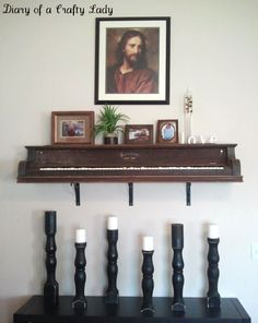 Unusual DIY Shelf Of An Old Piano...so me. However, I couldnt bear to see a piano disassembled