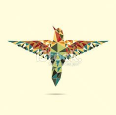 geometric hummingbird abstract colour Royalty Free Stock Vector Art Illustration