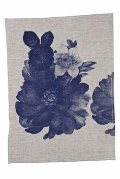 hand screen printed linen garden floral blue tea towel