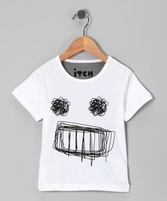 White Scribble Face Tee - Infant, Toddler & Kids