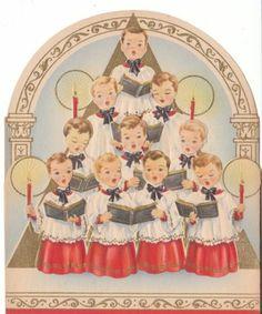 Vintage Christmas Card Choir Boys Unused Die-Cut Wallace Brown Made in USA