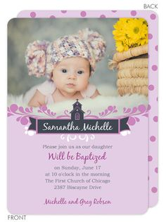 Purple Polka Dot Baptism Photo Invitations