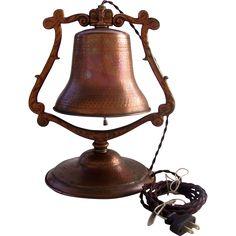 Copper Ship's Bell Desk Hammered Arts & Crafts Mission Vintage and antique nautical finds at Ruby Lane. www.rubylane.com #rubylane @rubylanecom