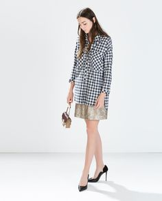Image 1 of OVERSIZED CHECKED SHIRT from Zara . I could style my sequin skirt with a checkered or flannel shirt