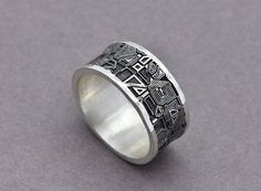 circuit board ring sterling silver mens wedding band computer jewellery gamer jewelry motherboard ring groomsman gift