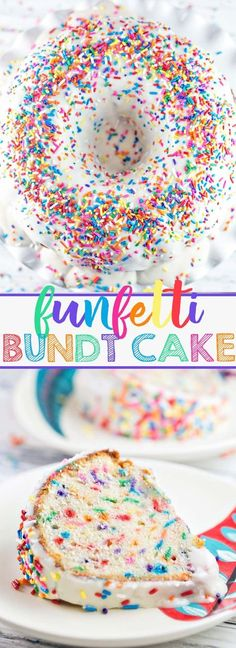 Funfetti Bundt Cake Get ready to celebrate with this festive sprinkle-filled funfetti bundt cake. Everyone's favorite childhood cake flavor, baked entirely from scratch and turned into a bundt cake. - Funfetti Bundt Cake: Get ready to celebrate with t… Funfetti Kuchen, Funfetti Cake, Dessert Simple, Pastel Funfetti, Köstliche Desserts, Dessert Recipes, Plated Desserts, Cupcake Recipes, Healthy Desserts